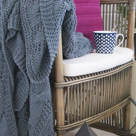 Krasilnikoff Tagesdecke Knitted Lavender Blue 130x180 •