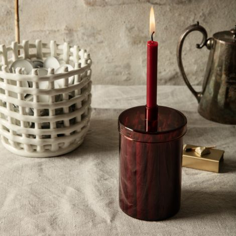 ferm LIVING Kerzen im Glas Dark Red 24 Stk.
