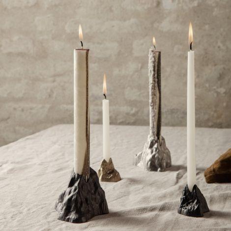 ferm LIVING Kerzenhalter Stone Large Black Aluminium