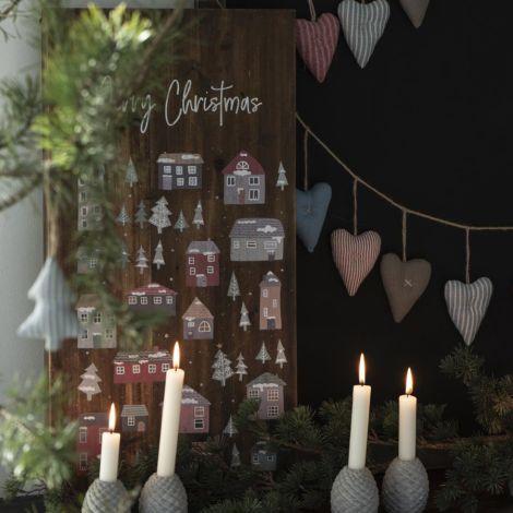 IB LAURSEN Holzschild Weihnachtsdorf und Merry Christmas