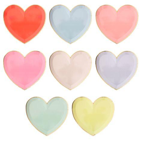 Meri Meri Pappteller Herz Rainbow Groß 8 Stk.