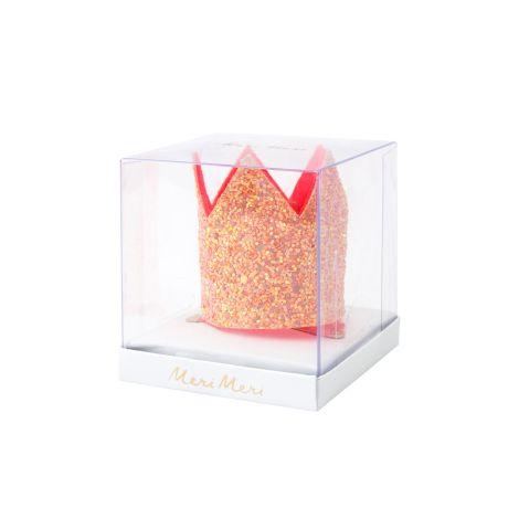 Meri Meri Krone mit Haarspange Pink Glitter