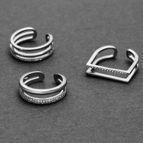 Dansk Smykkekunst Ring Mix & Match Triple Versilbert