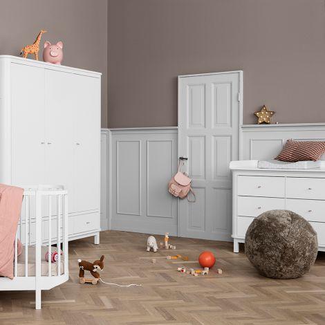Oliver Furniture Wood Wickelkommode 6 Schubladen mit großer Wickelplatte Weiß