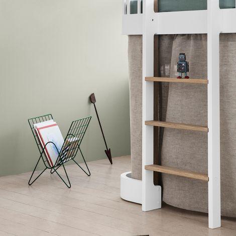 Oliver Furniture halbhohes Hochbett Wood Weiß/Eiche - Leiter vorne