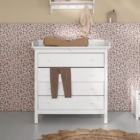 Oliver Furniture Seaside Wickelkommode 4 Schubladen Weiß