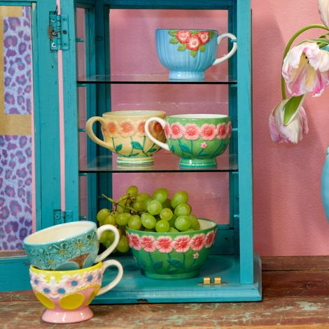 Rice Tasse Keramik Embossed Flower Design Blue