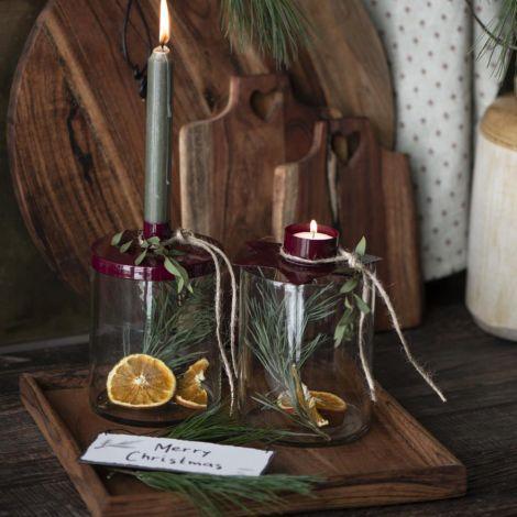 IB LAURSEN Kerzenhalter für Stabkerze Metalldeckel Dunkelrot