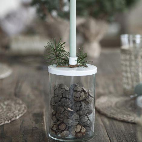 IB LAURSEN Kerzenhalter für schmale Kerze Metalldeckel Weiß