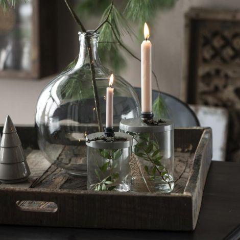 IB LAURSEN Kerzenhalter für schmale Kerze Metalldeckel Dunkelrot