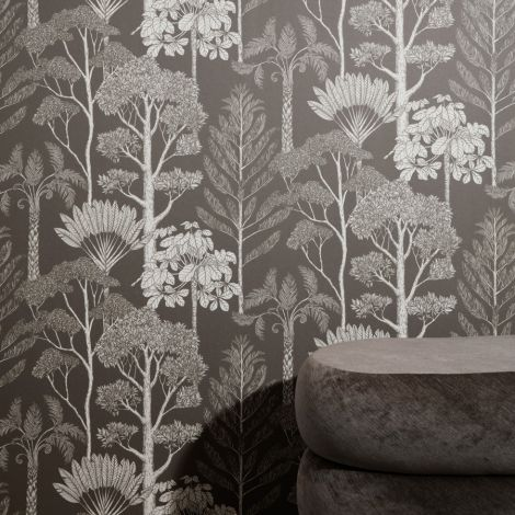 ferm LIVING Tapete Katie Scott Trees Brown Grey