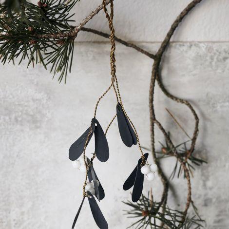 House Doctor Deko-Anhänger Mistletoe Schwarz 15 cm