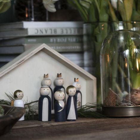 IB LAURSEN Weihnachtskrippe mit 7 Holzfiguren handbemalt