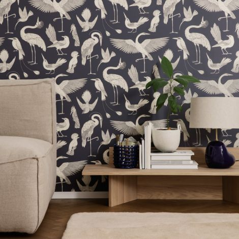 ferm LIVING Tapete Katie Scott Birds Dark Blue