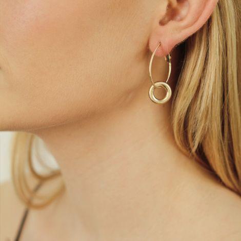 Dansk Smykkekunst Kleine Ohrringe Infinity Chunky Hoop Vergoldet •