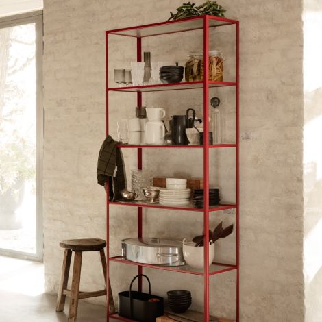 ferm LIVING Regal Haze mit geriffeltem Glas Poppy Red