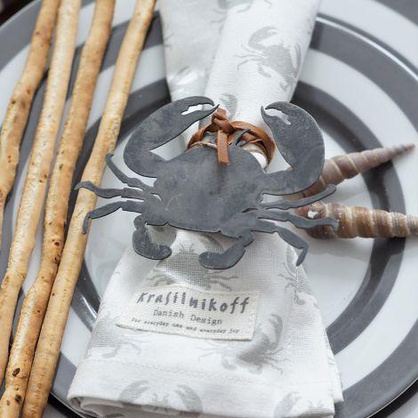 Krasilnikoff Stoffserviette Crab White