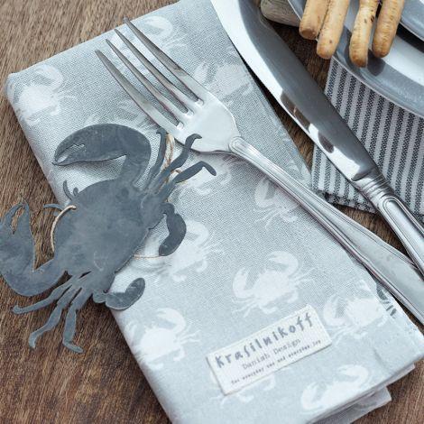 Krasilnikoff Stoffserviette Crab Grey