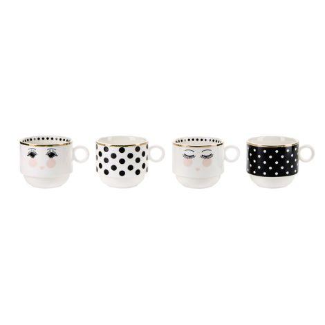 Miss Étoile Tasse stapelbar in Halterung Dots Black/White 4er-Set