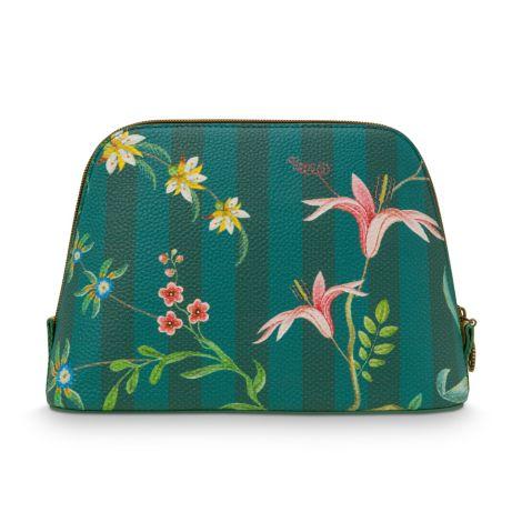 PIP Studio Kosmetiktasche Triangle Medium Fleur Grandeur Green