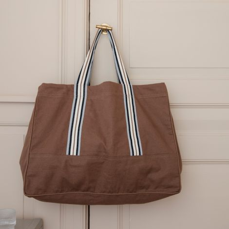 ferm LIVING Tasche Weekender Striped Dark Tan