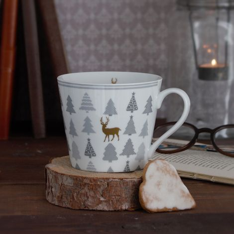 Krasilnikoff Tasse Happy Cup Christmas Trees With Deer