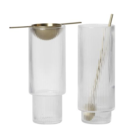 ferm LIVING Long Drink Glas Ripple 4er-Set