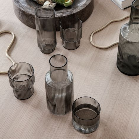 ferm LIVING Long Drink Glas Ripple Smoked Grey 4er-Set