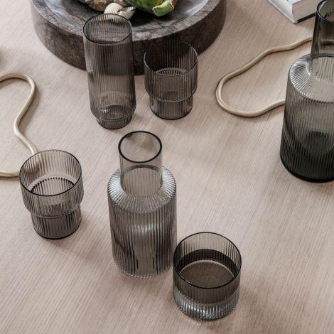ferm LIVING Long Drink Glas Ripple Smoked Grey 4er-Set