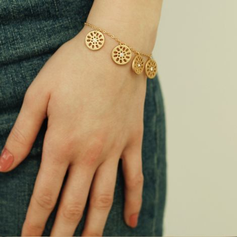 Dansk Smykkekunst Armband Daisy Vergoldet •