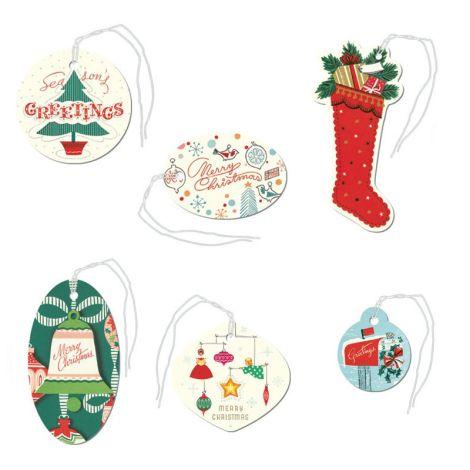 Cavallini Geschenkanhänger Vintage Christmas Glitter •