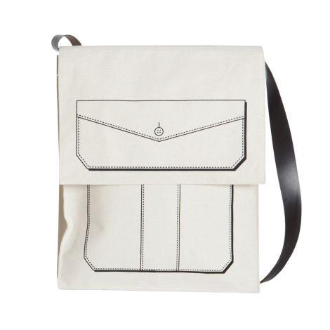 House Doctor Weiße Tasche mit Grafik •