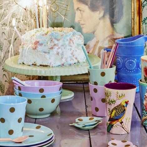 Rice Melamin großer Latte Cup Becher Vintage Budgie Print