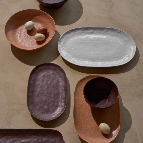 Broste Copenhagen Servierplatte Shape Puce Brown strukturiert 29,5 cm