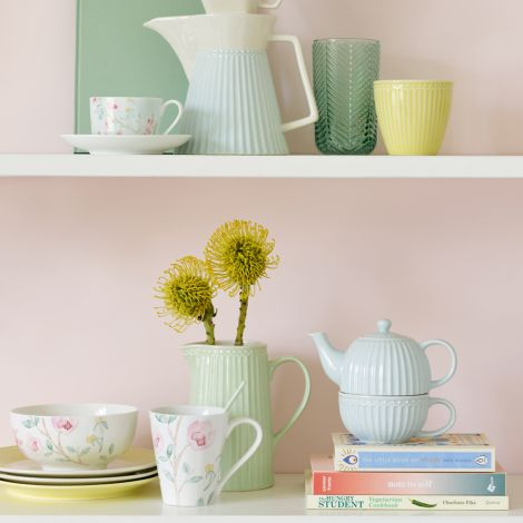 GreenGate Teetasse mit Kanne Tea For One Alice Pale Blue