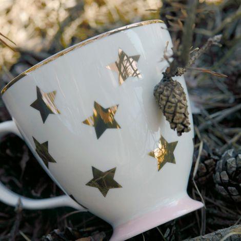 Miss Étoile Kaffeetasse Stars Weiß/Gold 10 cm