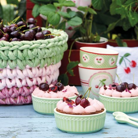 GreenGate Stoffserviette Cherry Red bestickt