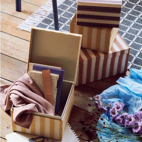 Broste Copenhagen Aufbewahrungskiste Cleo L Yellow Stripes 2er-Set