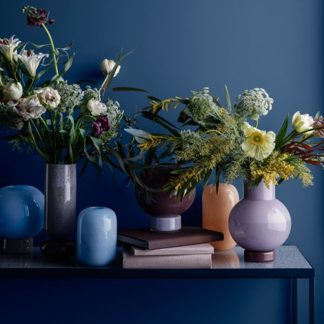 Broste Copenhagen Vase Mari Mundgeblasenes Glas Seranity Light Blue/Taupe