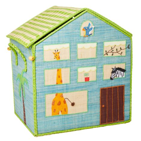 Rice Spielzeugkorb Jungle House Blau