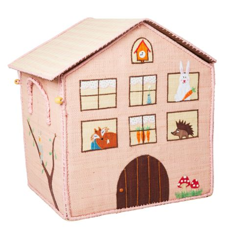 Rice Spielzeugkorb Jungle House Rosa L