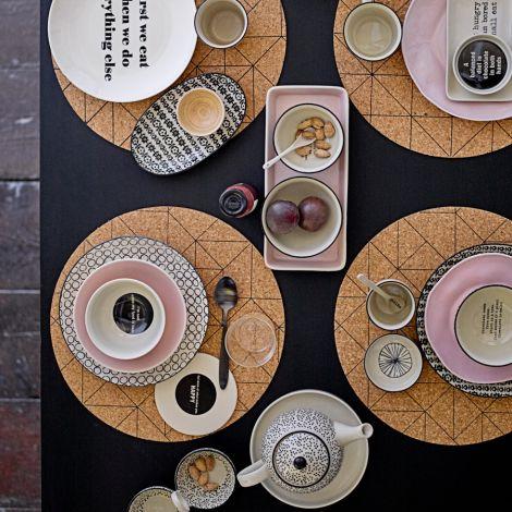 Bloomingville Porzellan-Teller Karine 20 cm, 4er-Set