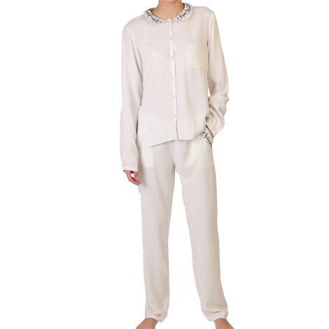 COCOON HOMEWEAR Pyjamajacke Diana Weiss L (40)