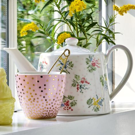 GreenGate Latte Cup Becher Gold Spot Peach