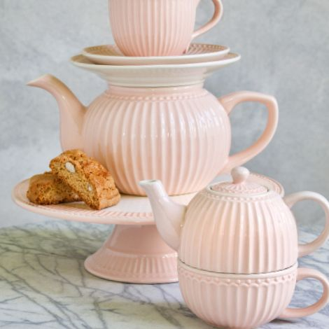GreenGate Teetasse mit Kanne Tea For One Alice Pale Pink