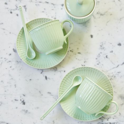 GreenGate Tasse mit Unterteller Alice Pale Green