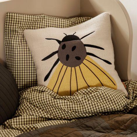 ferm LIVING Kissen bestickt Forest Moth 40x40 cm