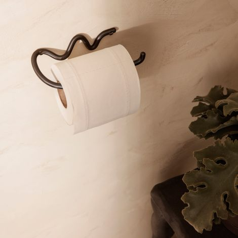 ferm LIVING Toilettenrollenhalter Curvature Black Brass