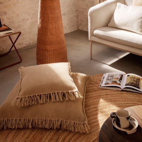 ferm LIVING Kissen mit Fransen Kelim L Sand