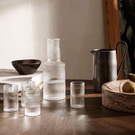 ferm LIVING Glas/Deckel Karaffe für Karaffe Ripple Clear